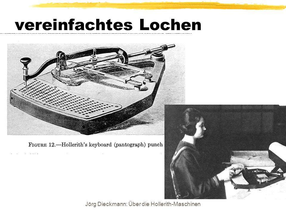 Jörg Dieckmann: Über die Hollerith-Maschinen vereinfachtes Lochen