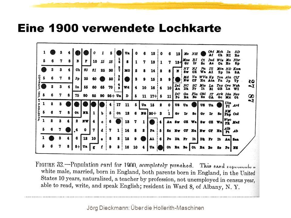Jörg Dieckmann: Über die Hollerith-Maschinen Eine 1900 verwendete Lochkarte