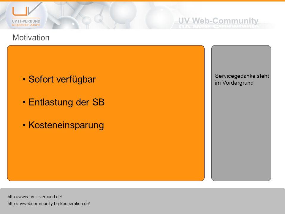 http://uvwebcommunity.bg-kooperation.de/ http://www.uv-it-verbund.de/ Motivation Sofort verfügbar Entlastung der SB Kosteneinsparung Servicegedanke st