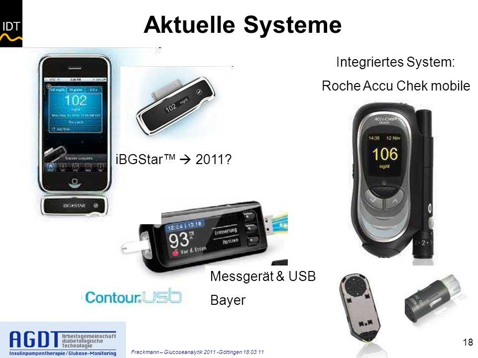 Freckmann – Glucoseanalytik 2011 -Göttingen 18.03.11 18 Aktuelle Systeme Integriertes System: Roche Accu Chek mobile Messgerät & USB Bayer iBGStar 2011?