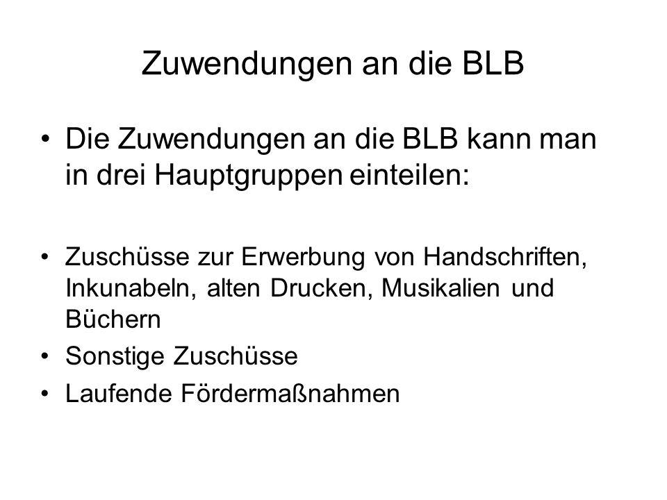 Zuwendungen an die BLB Die Zuwendungen an die BLB kann man in drei Hauptgruppen einteilen: Zuschüsse zur Erwerbung von Handschriften, Inkunabeln, alte
