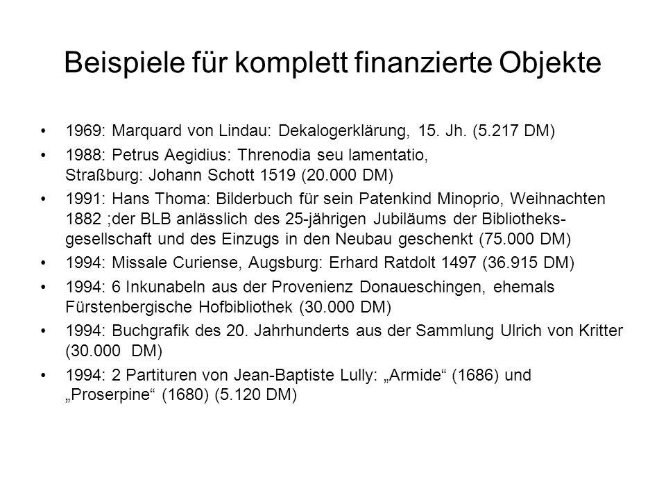 Beispiele für komplett finanzierte Objekte 1969: Marquard von Lindau: Dekalogerklärung, 15. Jh. (5.217 DM) 1988: Petrus Aegidius: Threnodia seu lament