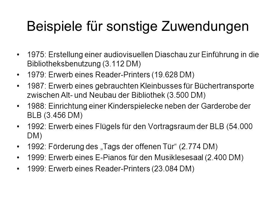 Beispiele für sonstige Zuwendungen 1975: Erstellung einer audiovisuellen Diaschau zur Einführung in die Bibliotheksbenutzung (3.112 DM) 1979: Erwerb e