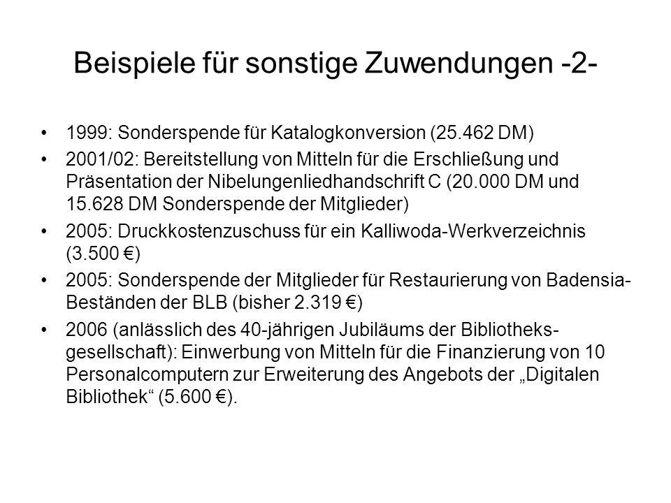 Beispiele für sonstige Zuwendungen -2- 1999: Sonderspende für Katalogkonversion (25.462 DM) 2001/02: Bereitstellung von Mitteln für die Erschließung u