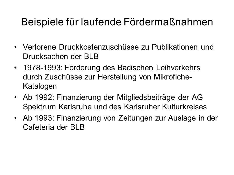 Beispiele für laufende Fördermaßnahmen Verlorene Druckkostenzuschüsse zu Publikationen und Drucksachen der BLB 1978-1993: Förderung des Badischen Leih