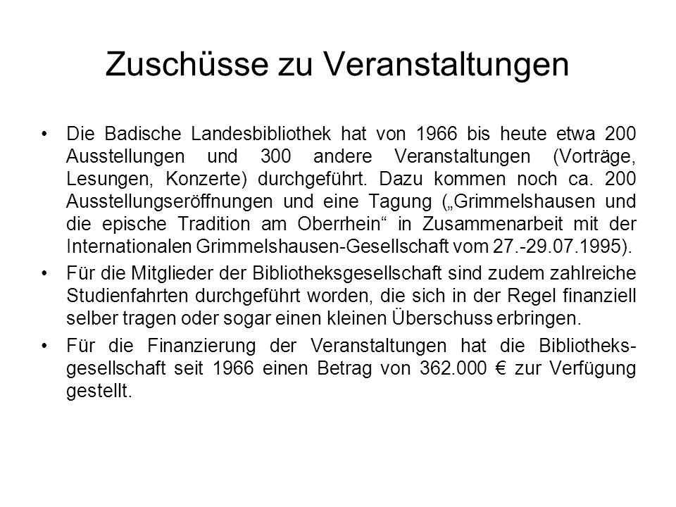 Zuschüsse zu Veranstaltungen Die Badische Landesbibliothek hat von 1966 bis heute etwa 200 Ausstellungen und 300 andere Veranstaltungen (Vorträge, Les