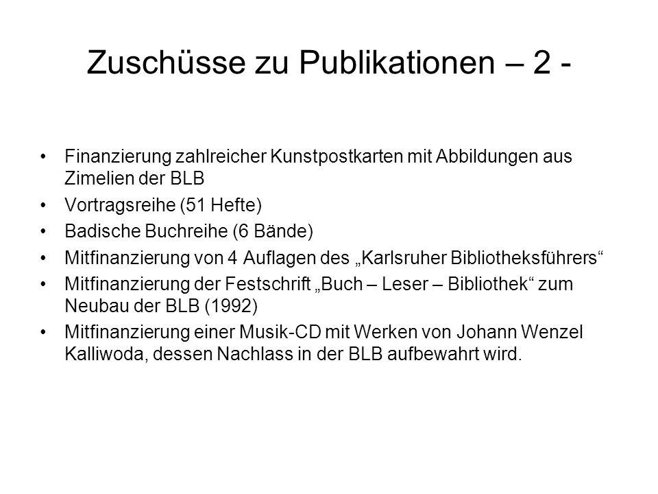 Zuschüsse zu Publikationen – 2 - Finanzierung zahlreicher Kunstpostkarten mit Abbildungen aus Zimelien der BLB Vortragsreihe (51 Hefte) Badische Buchr