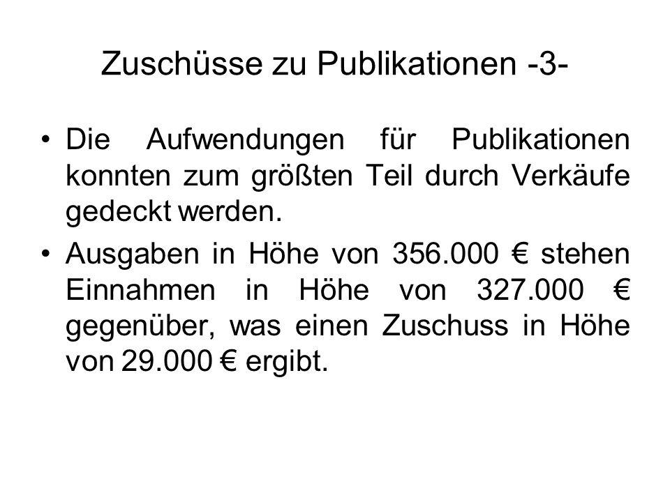 Zuschüsse zu Publikationen -3- Die Aufwendungen für Publikationen konnten zum größten Teil durch Verkäufe gedeckt werden. Ausgaben in Höhe von 356.000