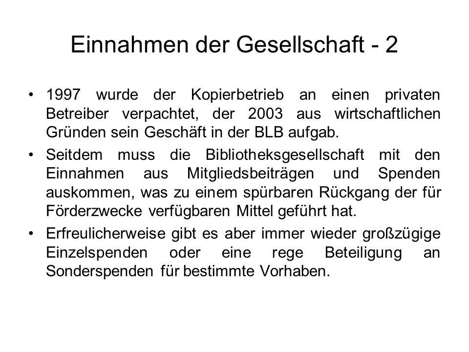 Einnahmen der Gesellschaft - 2 1997 wurde der Kopierbetrieb an einen privaten Betreiber verpachtet, der 2003 aus wirtschaftlichen Gründen sein Geschäf