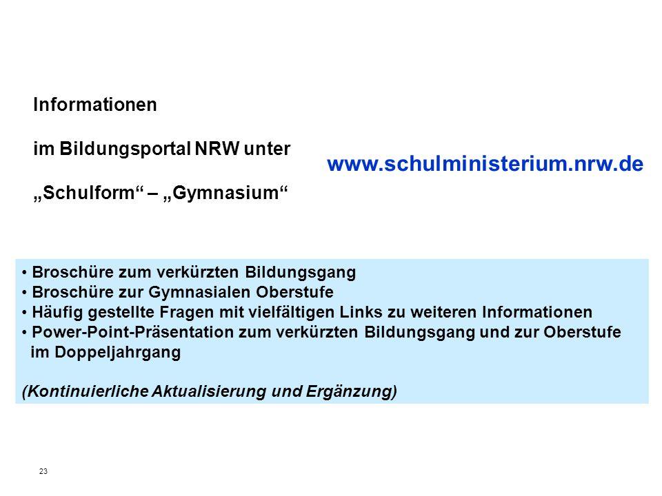 Informationen im Bildungsportal NRW unter Schulform – Gymnasium Broschüre zum verkürzten Bildungsgang Broschüre zur Gymnasialen Oberstufe Häufig geste