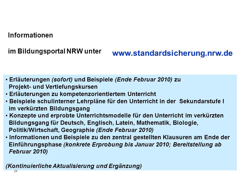 Informationen im Bildungsportal NRW unter Erläuterungen (sofort) und Beispiele (Ende Februar 2010) zu Projekt- und Vertiefungskursen Erläuterungen zu