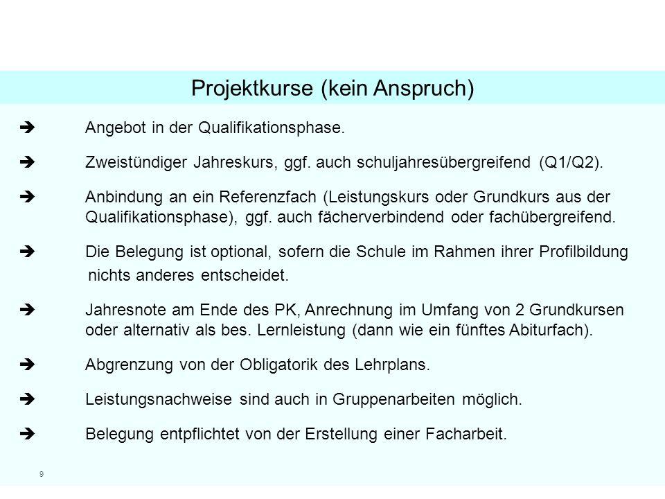 20 Die gymnasiale Oberstufe im letztmalig unverkürzten Bildungsgang an Gy sowie paralleler Jahrgang an Ge (EP 2010/11): Block II: Abiturprüfung (mind.