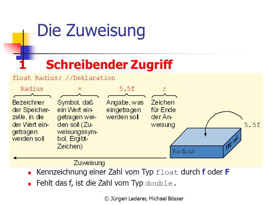 © Jürgen Lederer, Michael Bösser Gleitpunkt-Typen in Java Binäre Operationen (analog zu ganzzahligen Typen) + - * / % (Arithmetische Operationen) >= =