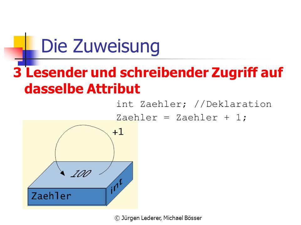 © Jürgen Lederer, Michael Bösser Die Zuweisung 2 Lesender und schreibender Zugriff auf verschiedene Attribute