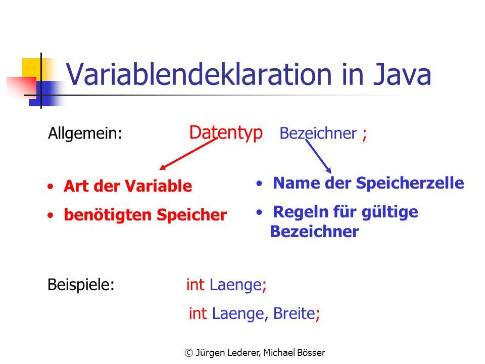 © Jürgen Lederer, Michael Bösser Eigenschaften einer Variable Eine Variable ist eine Speicherzelle im Hauptspeicher, in die man eine Wert ablegen kann