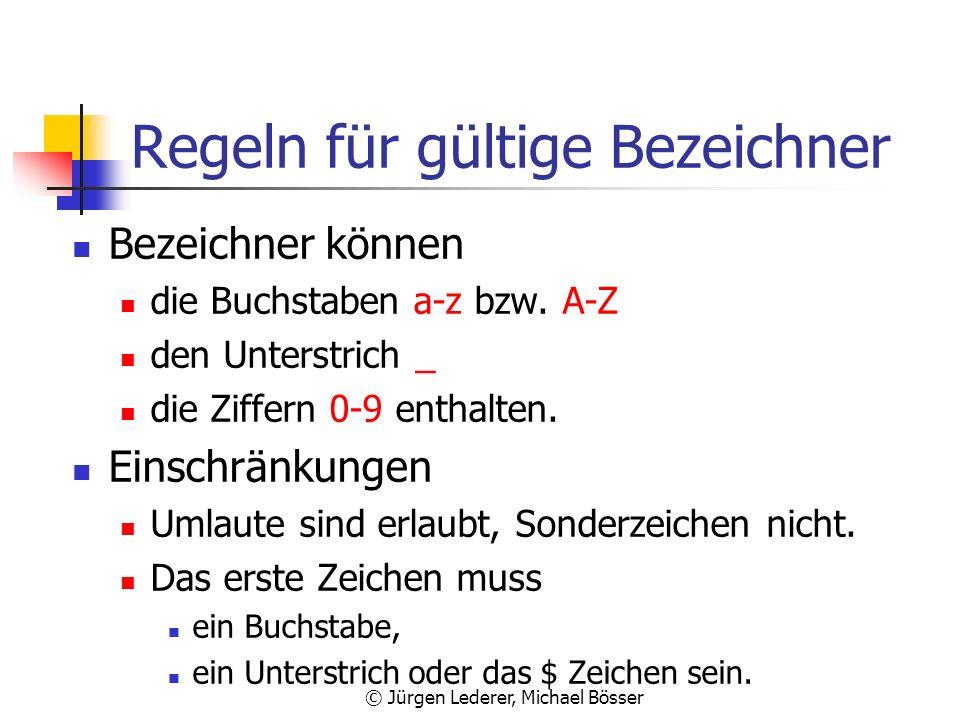 © Jürgen Lederer, Michael Bösser Variablendeklaration in Java Allgemein: Datentyp Bezeichner ; Art der Variable benötigten Speicher Name der Speicherz