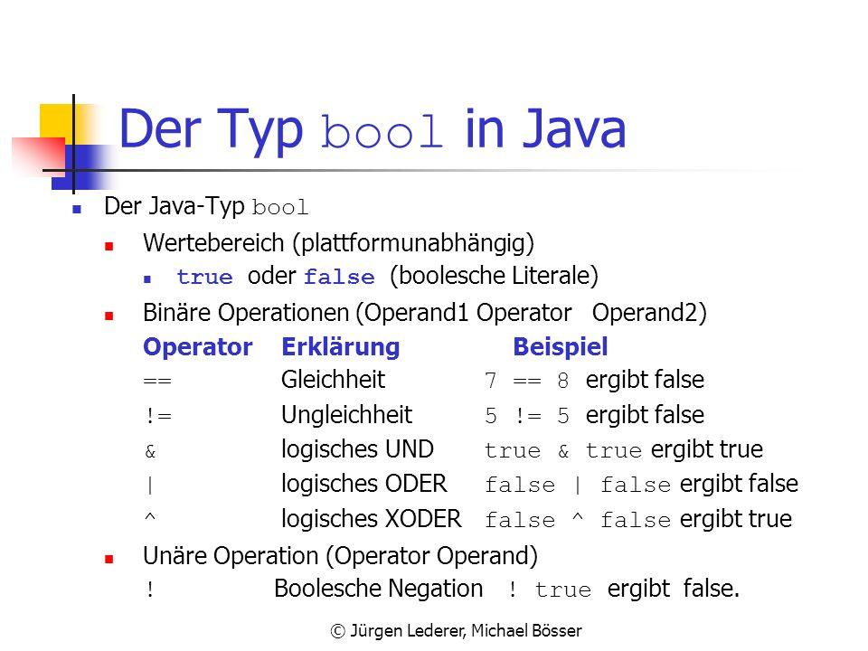 © Jürgen Lederer, Michael Bösser Regeln für gültige Bezeichner Bezeichner können die Buchstaben a-z bzw. A-Z den Unterstrich _ die Ziffern 0-9 enthalt