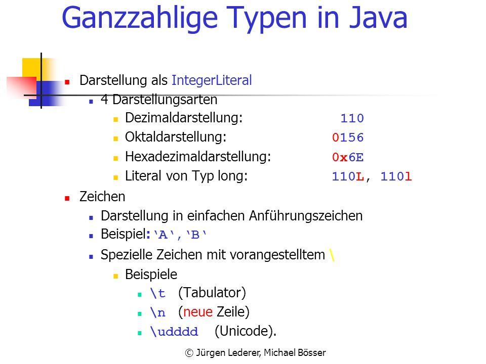 © Jürgen Lederer, Michael Bösser Ganzzahlige Typen in Java Wertebereich (plattformunabhängig) TypKleinster Wert Größter WertSpeicherplatz byte 02551 B