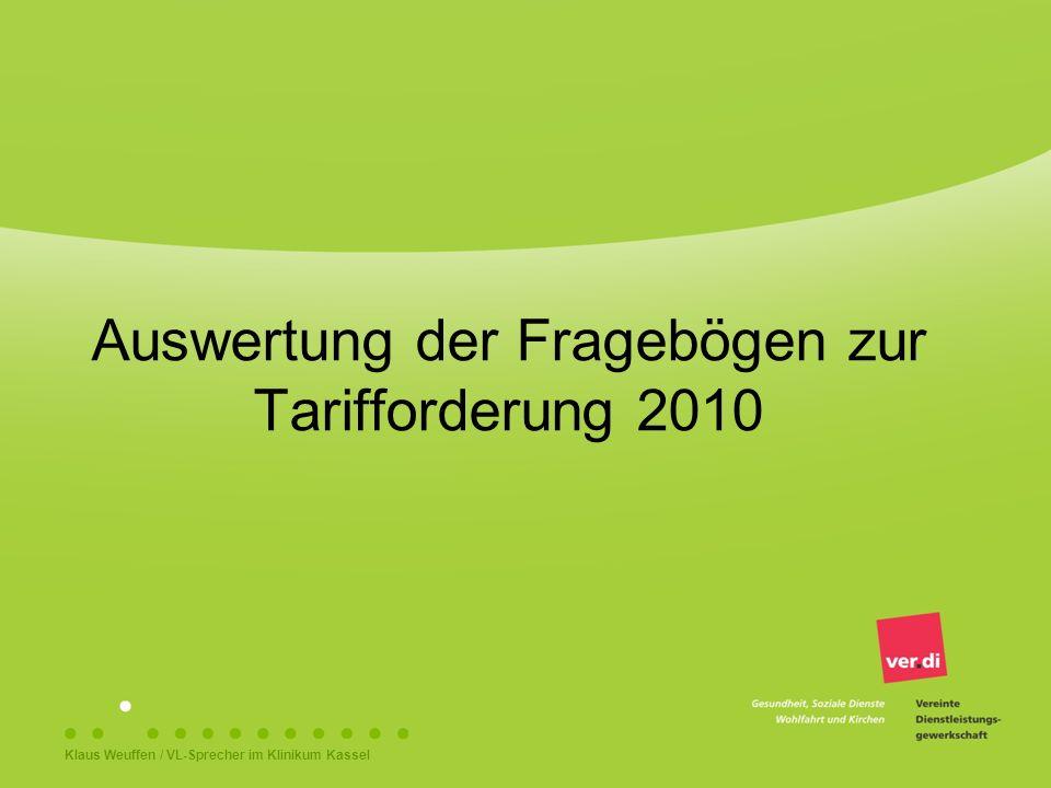 Auswertung der Fragebögen zur Tarifforderung 2010 Klaus Weuffen / VL-Sprecher im Klinikum Kassel