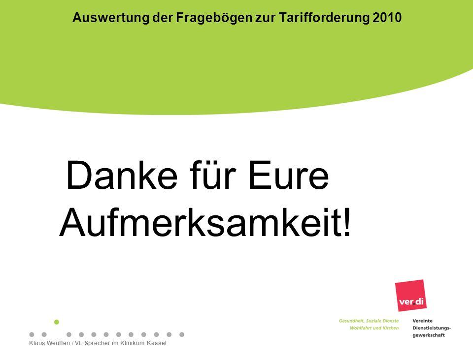 Danke für Eure Aufmerksamkeit! Klaus Weuffen / VL-Sprecher im Klinikum Kassel Auswertung der Fragebögen zur Tarifforderung 2010