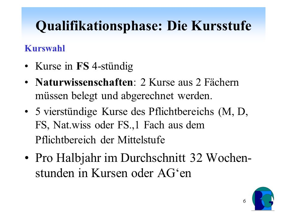 7 Qualifikationsphase: Die Kursstufe Kurse des Pflichtbereichs fünf (4 HJ) 4-stündig = mind.