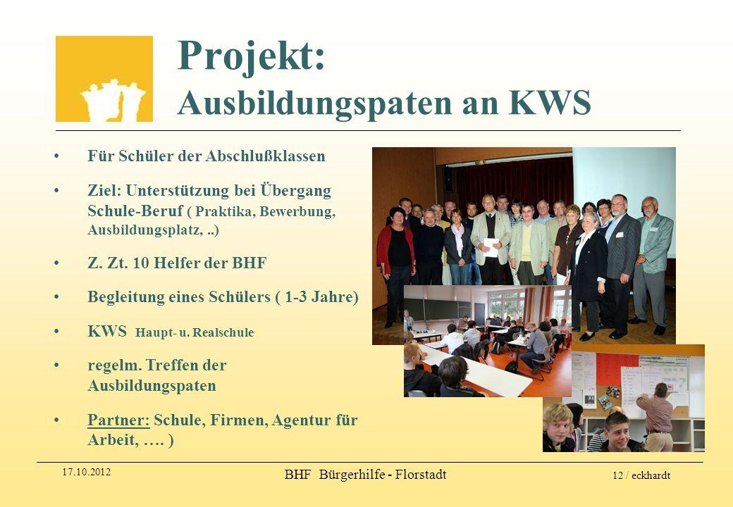 17.10.2012 BHF Bürgerhilfe - Florstadt 12 / eckhardt Projekt: Ausbildungspaten an KWS Für Schüler der Abschlußklassen Ziel: Unterstützung bei Übergang
