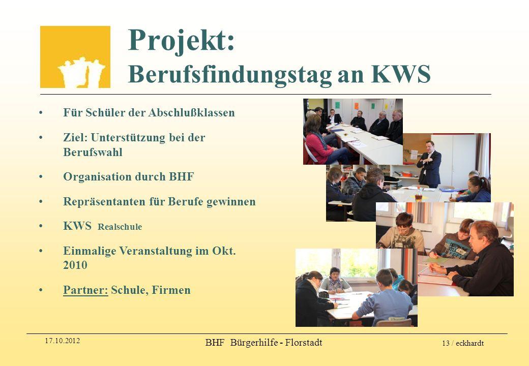 17.10.2012 BHF Bürgerhilfe - Florstadt 13 / eckhardt Projekt: Berufsfindungstag an KWS Für Schüler der Abschlußklassen Ziel: Unterstützung bei der Ber