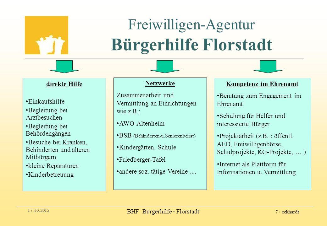 17.10.2012 BHF Bürgerhilfe - Florstadt 7 / eckhardt Freiwilligen-Agentur Bürgerhilfe Florstadt direkte Hilfe Einkaufshilfe Begleitung bei Arztbesuchen