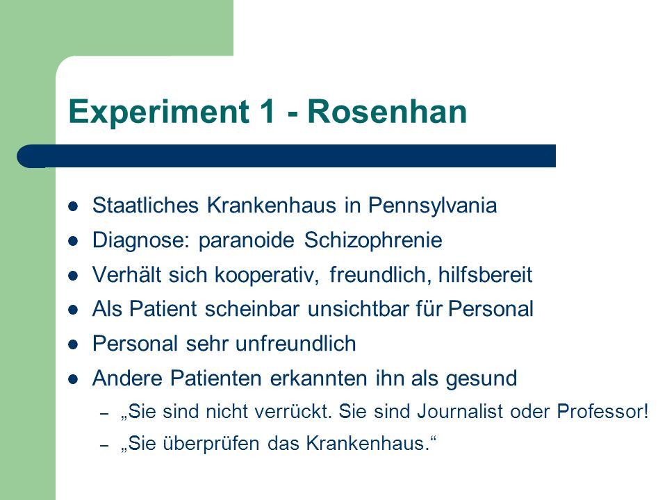 Experiment 1 - Rosenhan Staatliches Krankenhaus in Pennsylvania Diagnose: paranoide Schizophrenie Verhält sich kooperativ, freundlich, hilfsbereit Als
