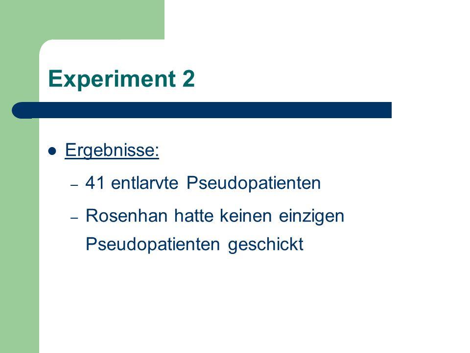 Experiment 2 Ergebnisse: – 41 entlarvte Pseudopatienten – Rosenhan hatte keinen einzigen Pseudopatienten geschickt