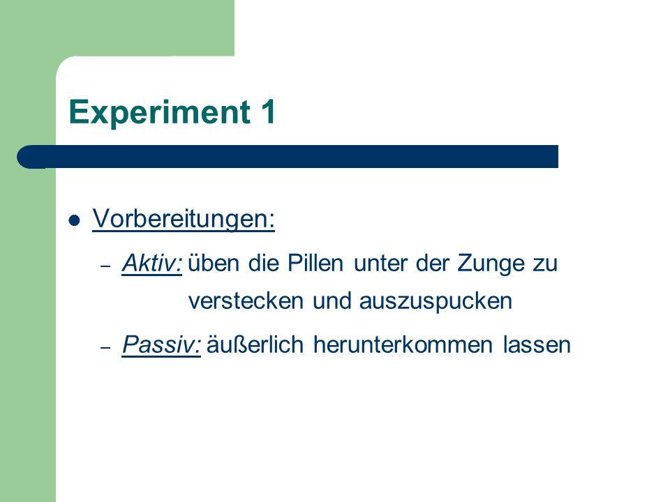 Experiment 1 Vorbereitungen: – Aktiv: üben die Pillen unter der Zunge zu verstecken und auszuspucken – Passiv: äußerlich herunterkommen lassen
