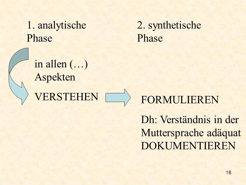 16 1. analytische Phase 2. synthetische Phase in allen (…) Aspekten VERSTEHEN FORMULIEREN Dh: Verständnis in der Muttersprache adäquat DOKUMENTIEREN