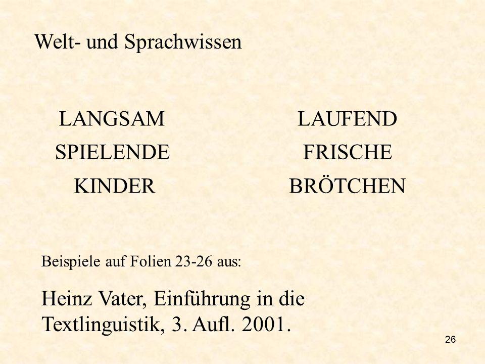 26 LANGSAM SPIELENDE KINDER LAUFEND FRISCHE BRÖTCHEN Welt- und Sprachwissen Beispiele auf Folien 23-26 aus: Heinz Vater, Einführung in die Textlinguis