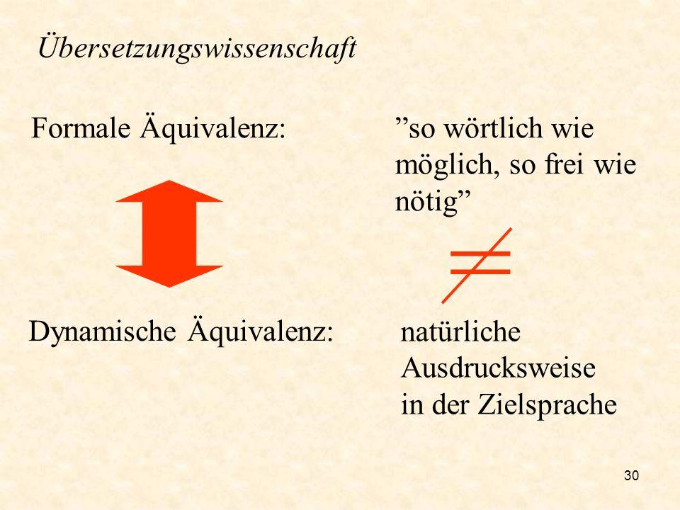 30 Formale Äquivalenz: Dynamische Äquivalenz: so wörtlich wie möglich, so frei wie nötig natürliche Ausdrucksweise in der Zielsprache Übersetzungswiss