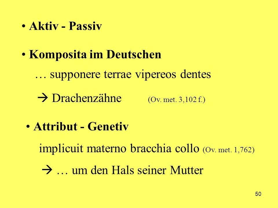 50 Aktiv - Passiv Komposita im Deutschen Attribut - Genetiv implicuit materno bracchia collo (Ov. met. 1,762) … um den Hals seiner Mutter … supponere