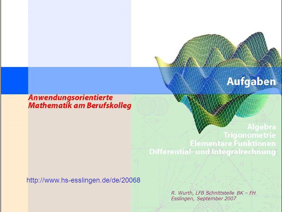 Deckblatt http://www.hs-esslingen.de/de/20068 R. Wurth, LFB Schnittstelle BK – FH Esslingen, September 2007