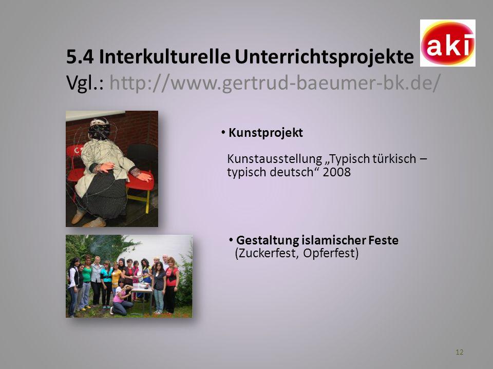 12 5.4 Interkulturelle Unterrichtsprojekte Vgl.: http://www.gertrud-baeumer-bk.de/ Kunstprojekt Kunstausstellung Typisch türkisch – typisch deutsch 20