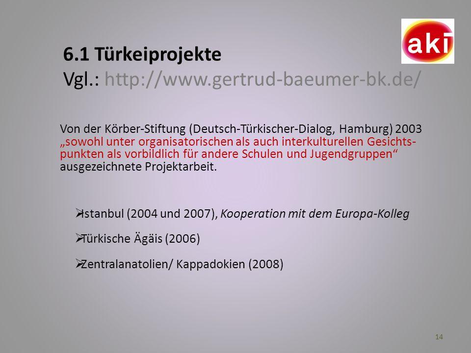 14 6.1 Türkeiprojekte Vgl.: http://www.gertrud-baeumer-bk.de/ Istanbul (2004 und 2007), Kooperation mit dem Europa-Kolleg Türkische Ägäis (2006) Zentr