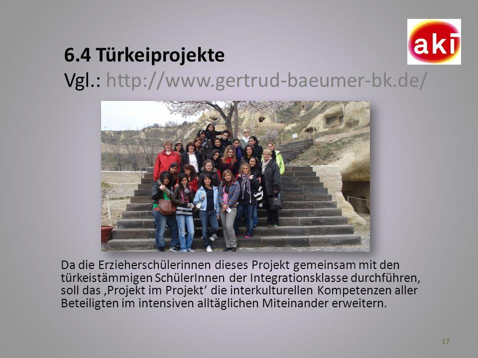 17 Da die Erzieherschülerinnen dieses Projekt gemeinsam mit den türkeistämmigen SchülerInnen der Integrationsklasse durchführen, soll das Projekt im P