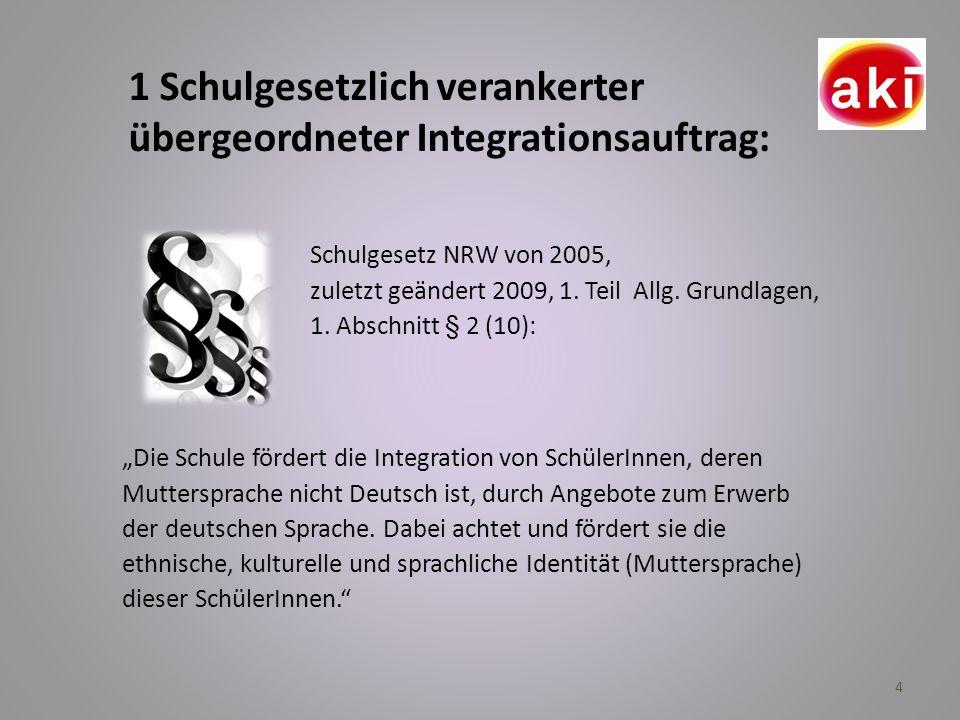 1 Schulgesetzlich verankerter übergeordneter Integrationsauftrag: Die Schule fördert die Integration von SchülerInnen, deren Muttersprache nicht Deuts