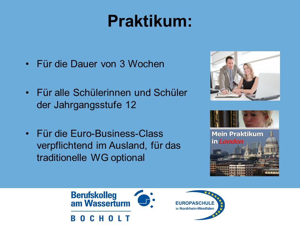 Praktikum: Für die Dauer von 3 Wochen Für alle Schülerinnen und Schüler der Jahrgangsstufe 12 Für die Euro-Business-Class verpflichtend im Ausland, für das traditionelle WG optional