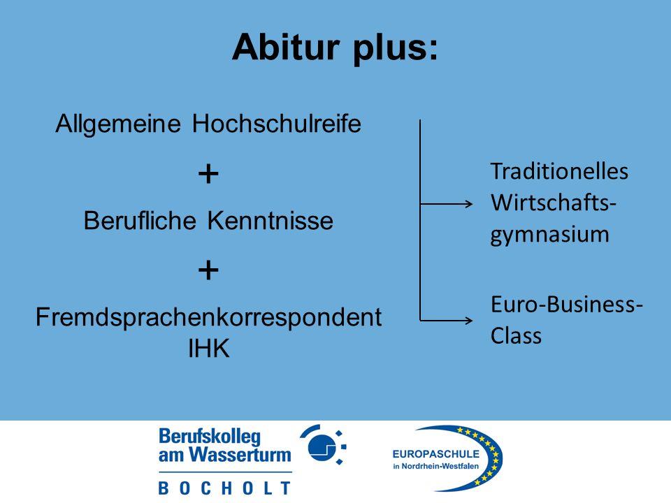 Abitur plus: Allgemeine Hochschulreife + Berufliche Kenntnisse + Fremdsprachenkorrespondent IHK Traditionelles Wirtschafts- gymnasium Euro-Business- Class