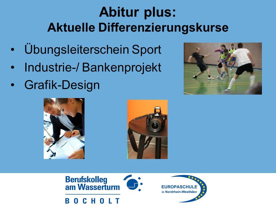 Abitur plus: Aktuelle Differenzierungskurse Übungsleiterschein Sport Industrie-/ Bankenprojekt Grafik-Design