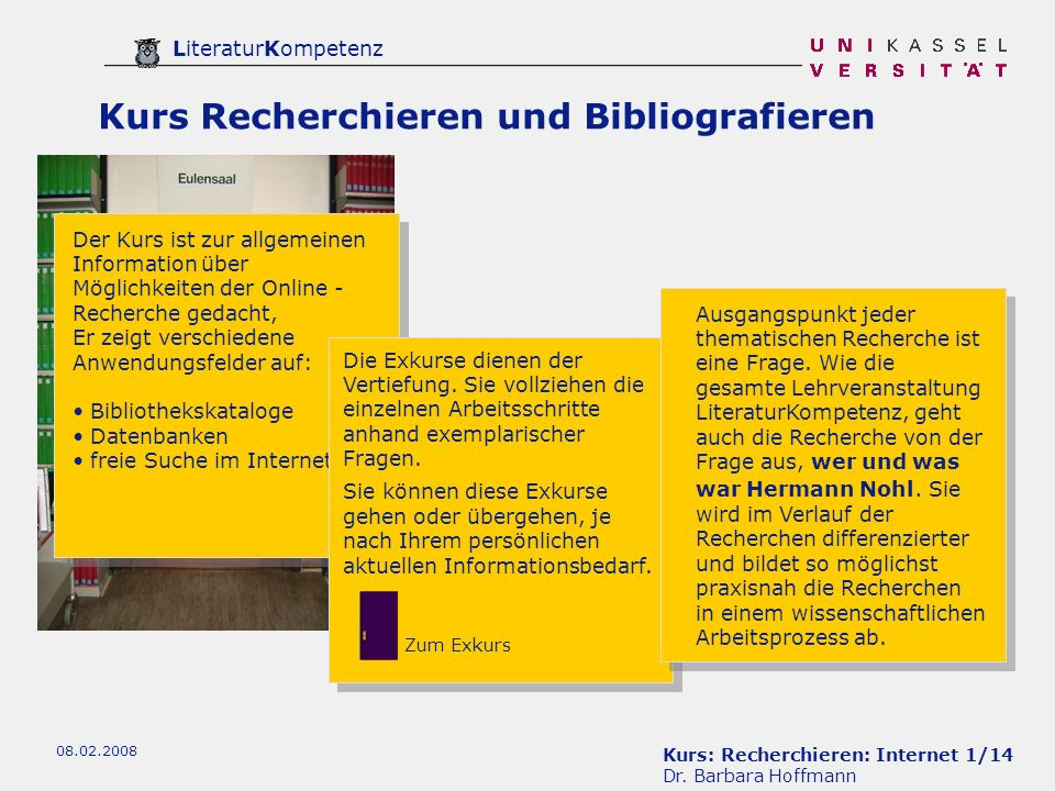 Kurs: Recherchieren: Internet 22/14 Dr.