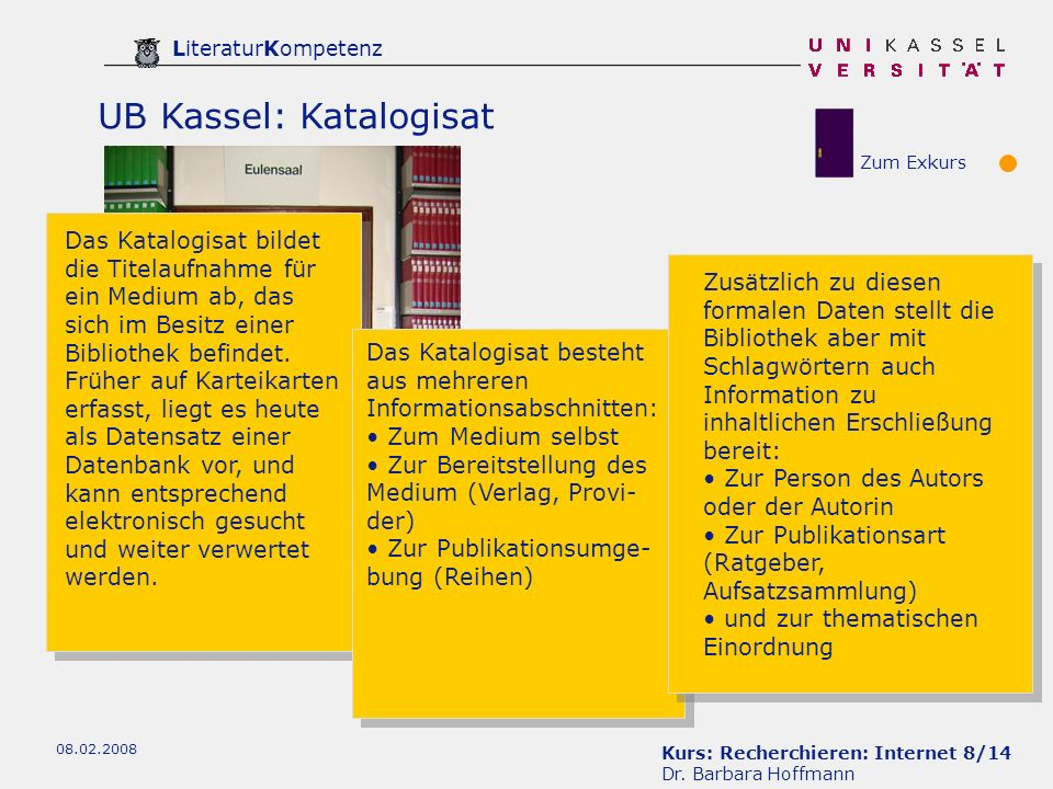 Kurs: Recherchieren: Internet 19/14 Dr.