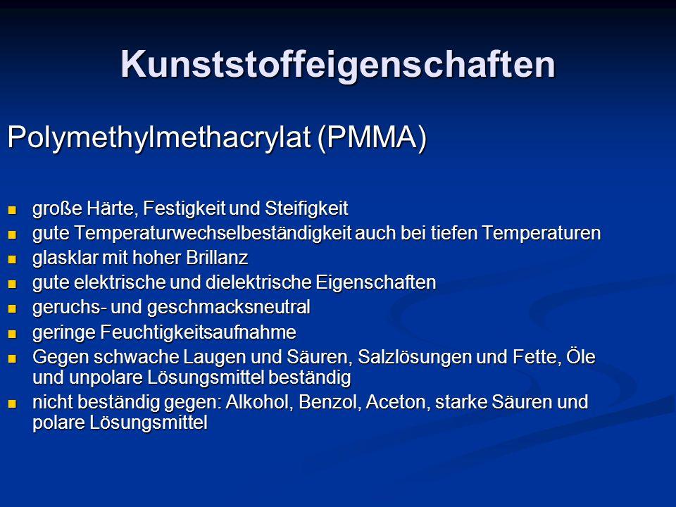 Kunststoffeigenschaften Polymethylmethacrylat (PMMA) große Härte, Festigkeit und Steifigkeit große Härte, Festigkeit und Steifigkeit gute Temperaturwe