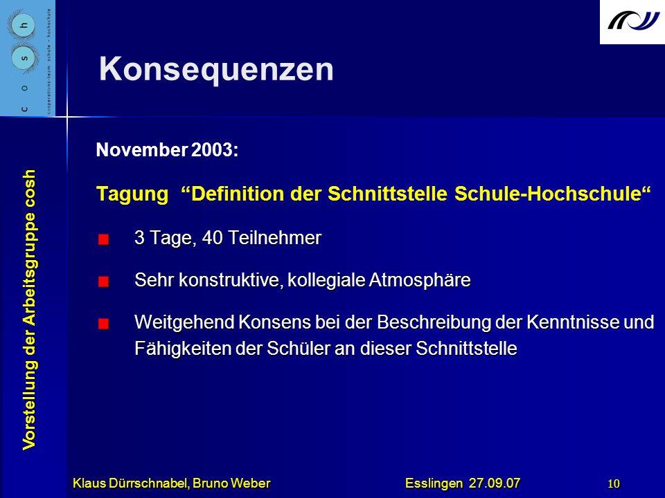 Vorstellung der Arbeitsgruppe cosh Klaus Dürrschnabel, Bruno Weber Esslingen 27.09.07 10 Konsequenzen November 2003: Tagung Definition der Schnittstel