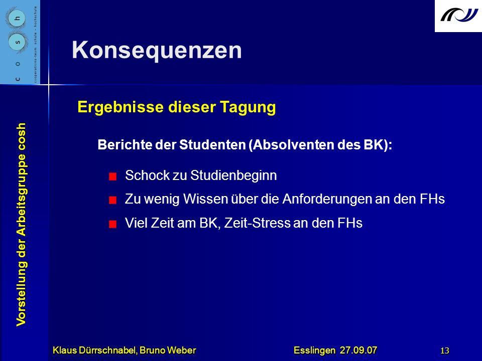 Vorstellung der Arbeitsgruppe cosh Klaus Dürrschnabel, Bruno Weber Esslingen 27.09.07 13 Konsequenzen Berichte der Studenten (Absolventen des BK): Sch