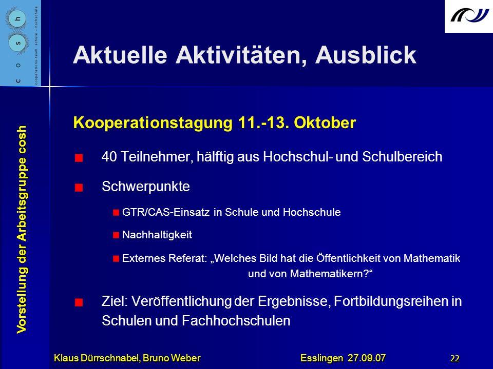 Vorstellung der Arbeitsgruppe cosh Klaus Dürrschnabel, Bruno Weber Esslingen 27.09.07 22 Aktuelle Aktivitäten, Ausblick Kooperationstagung 11.-13. Okt