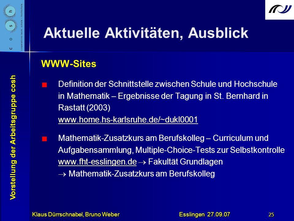 Vorstellung der Arbeitsgruppe cosh Klaus Dürrschnabel, Bruno Weber Esslingen 27.09.07 25 Aktuelle Aktivitäten, Ausblick WWW-Sites Definition der Schni